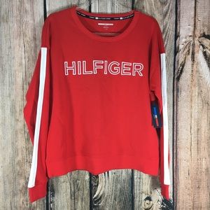 Tommy Hilfiger Womens Cropped Red Sweater Large